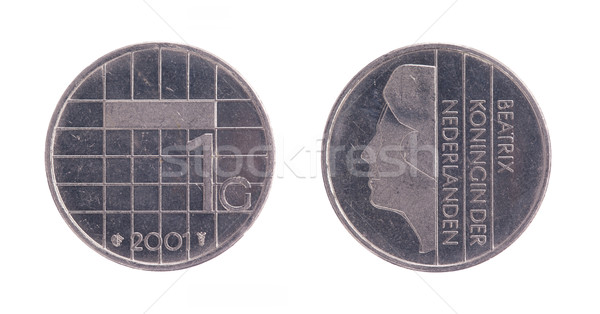 One dutch Guilder coin, old money from the Netherlands Stock photo © michaklootwijk