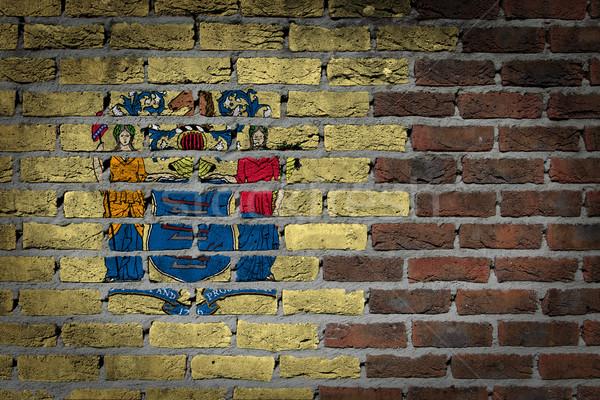 Karanlık tuğla duvar New Jersey doku bayrak boyalı Stok fotoğraf © michaklootwijk