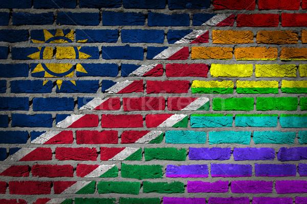 темно кирпичная стена правые Намибия текстуры флаг Сток-фото © michaklootwijk