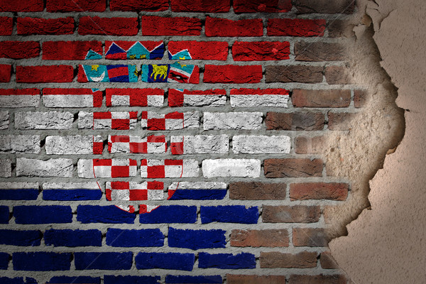 Escuro parede de tijolos gesso Croácia textura bandeira Foto stock © michaklootwijk