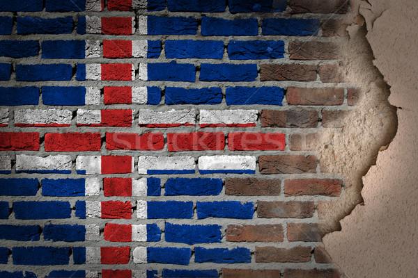 Sötét téglafal tapasz Izland textúra zászló Stock fotó © michaklootwijk