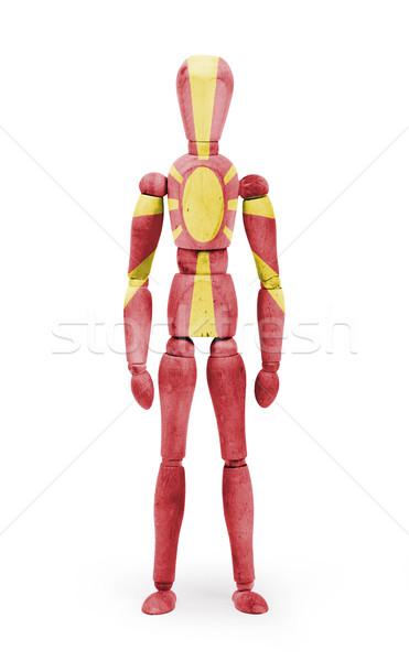 Wood figure mannequin with flag bodypaint - Macedonia Stock photo © michaklootwijk