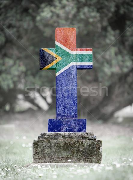 Lápida sepulcral cementerio Sudáfrica edad capeado bandera Foto stock © michaklootwijk
