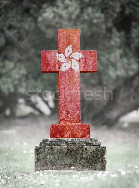 öreg sírkő temető Hongkong fű háttér Stock fotó © michaklootwijk