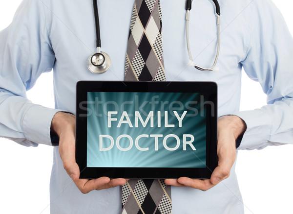 Stok fotoğraf: Doktor · tablet · aile · yalıtılmış · beyaz