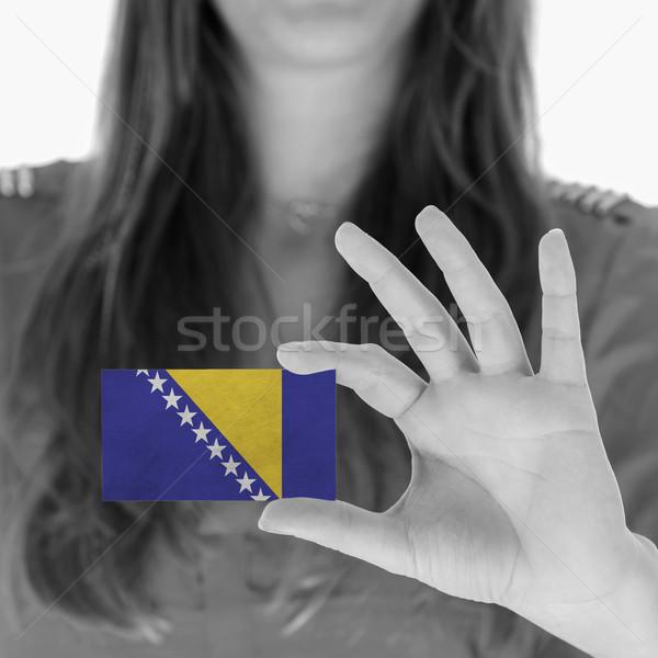 Mujer tarjeta de visita blanco negro Bosnia Herzegovina espacio Foto stock © michaklootwijk