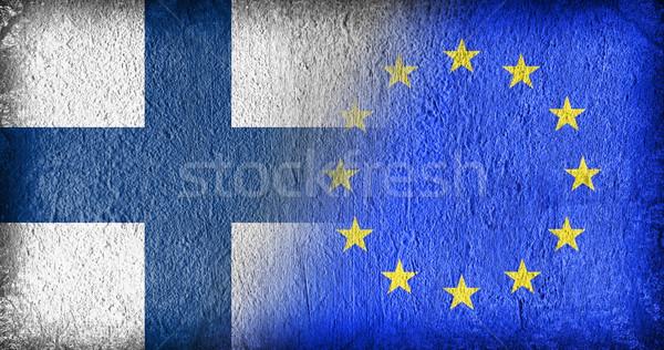 Finlandia eu flagi malowany pęknięty konkretnych Zdjęcia stock © michaklootwijk