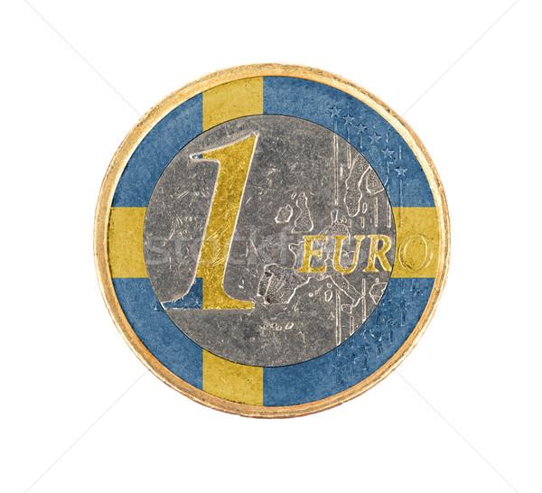 ユーロ コイン 孤立した 白 フラグ スウェーデン ストックフォト © michaklootwijk