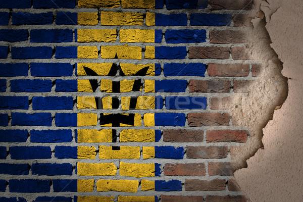 暗い レンガの壁 石膏 バルバドス テクスチャ フラグ ストックフォト © michaklootwijk
