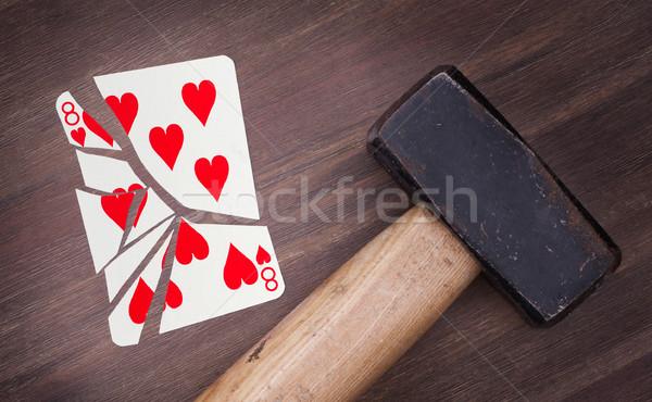 молота сломанной карт восемь сердцах Vintage Сток-фото © michaklootwijk