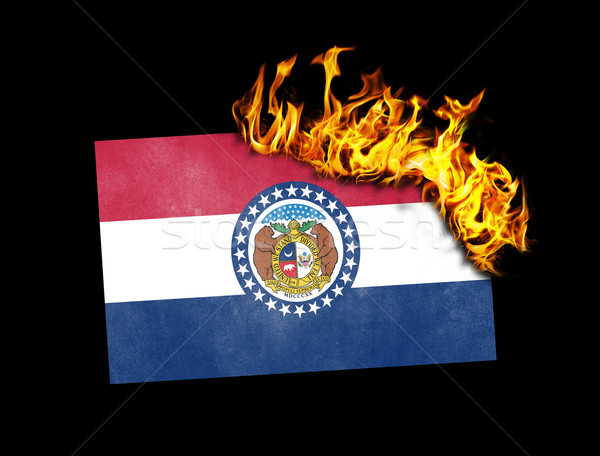 Pavillon brûlant Missouri guerre crise feu Photo stock © michaklootwijk
