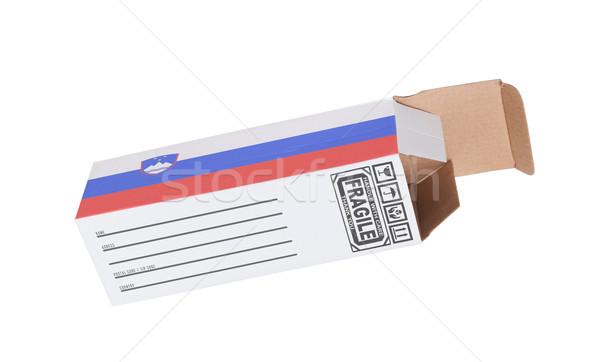 Exportar produto Eslovenia papel caixa Foto stock © michaklootwijk