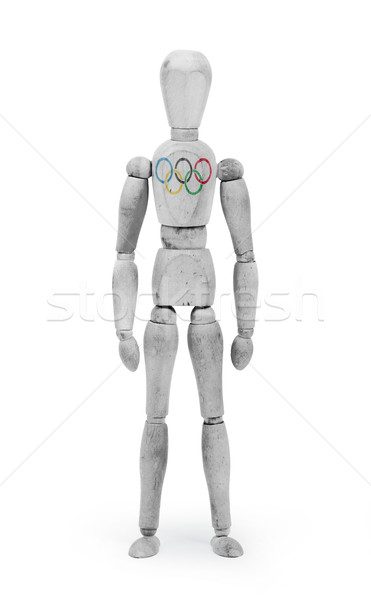Wood figure mannequin with flag bodypaint - Olympic Rings Stock photo © michaklootwijk