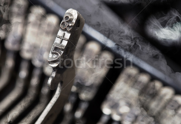 5 and ampersand hammer - old manual typewriter - mystery smoke Stock photo © michaklootwijk