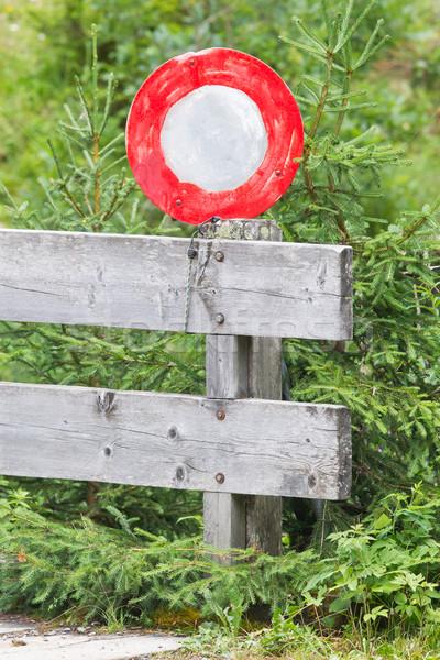 Сток-фото: стороны · окрашенный · дорожный · знак · предупреждение · забор · Швейцария
