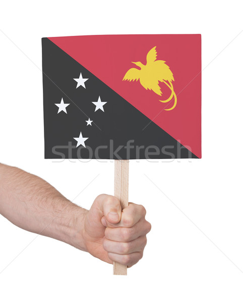 Hand holding small card - Flag of Papua New Guinea Stock photo © michaklootwijk
