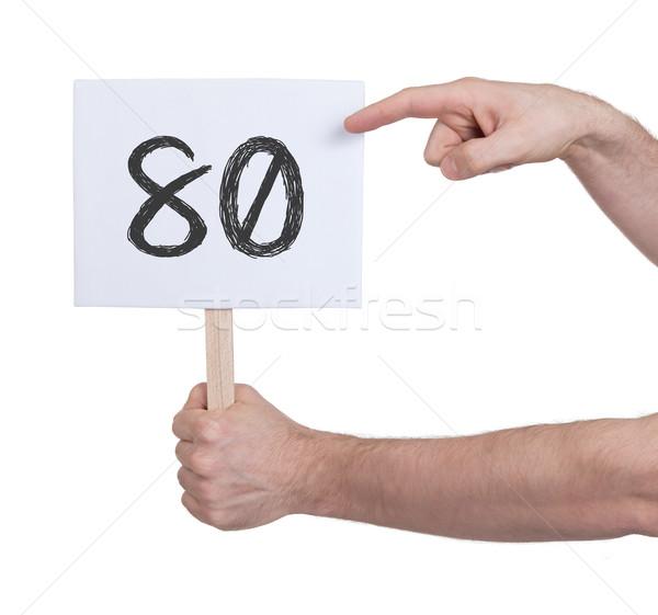 знак числа до 80 изолированный белый бизнеса Сток-фото © michaklootwijk