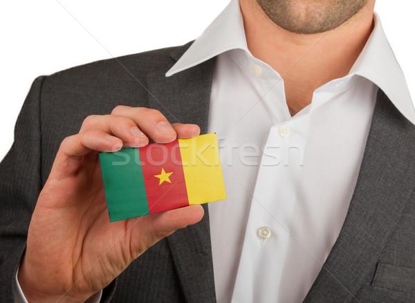Zakenman visitekaartje Kameroen vlag business Stockfoto © michaklootwijk