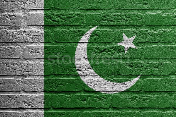 Tuğla duvar boyama bayrak Pakistan yalıtılmış boya Stok fotoğraf © michaklootwijk