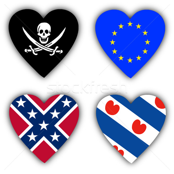 Flags in the shape of a heart, symbolic flags Stock photo © michaklootwijk