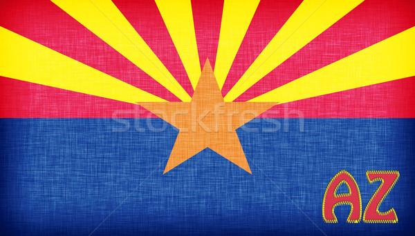 Leinen Flagge Arizona Abkürzung Textur Sterne Stock foto © michaklootwijk