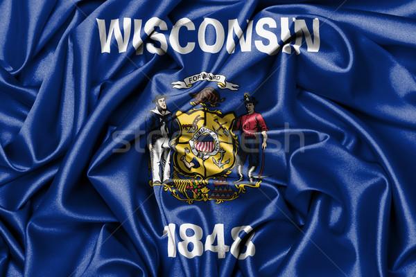 Szatén zászló háromdimenziós render Wisconsin háttér Stock fotó © michaklootwijk