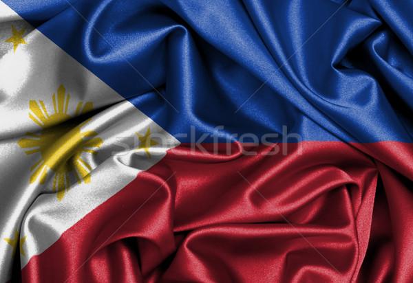 サテン フラグ レンダー フィリピン テクスチャ ストックフォト © michaklootwijk