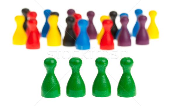 Four green pawns Stock photo © michaklootwijk