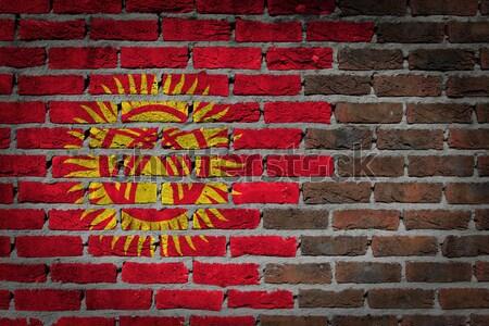 Karanlık tuğla duvar Kırgızistan doku bayrak Stok fotoğraf © michaklootwijk