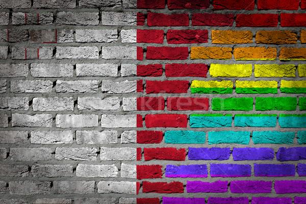 Foto stock: Oscuro · pared · de · ladrillo · derechos · Malta · textura · bandera