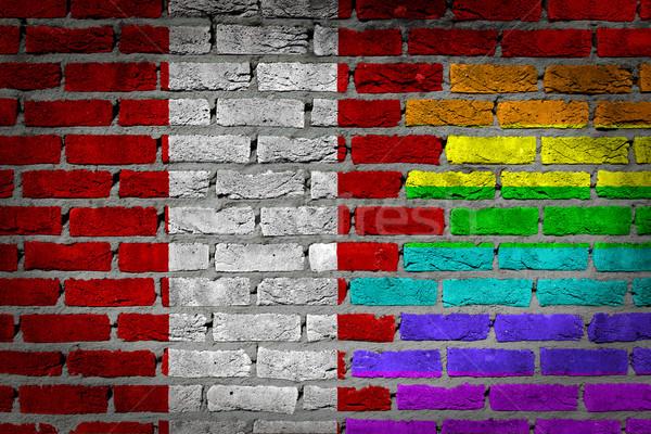 темно кирпичная стена правые Перу текстуры флаг Сток-фото © michaklootwijk