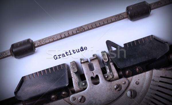 Vintage velho máquina de escrever gratidão fundo Foto stock © michaklootwijk
