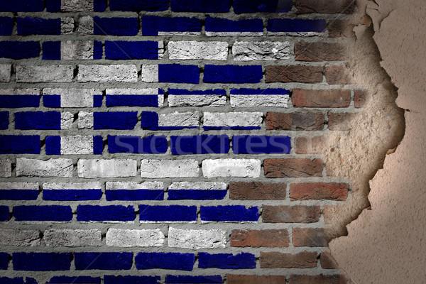 Sombre mur de briques plâtre Grèce texture pavillon Photo stock © michaklootwijk