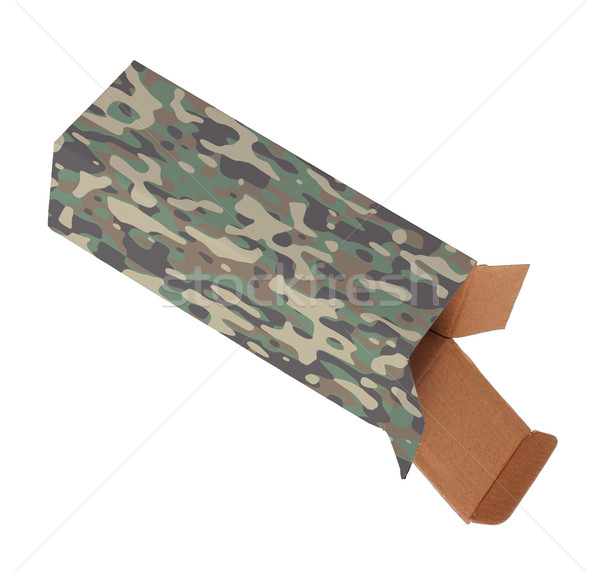 Camouflaged cardboard box on a white background Stock photo © michaklootwijk