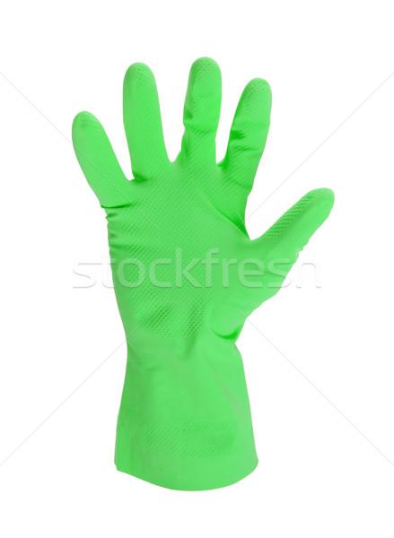 Látex luva limpeza mão isolado branco Foto stock © michaklootwijk
