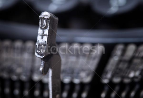 U hammer - old manual typewriter - cold blue filter Stock photo © michaklootwijk