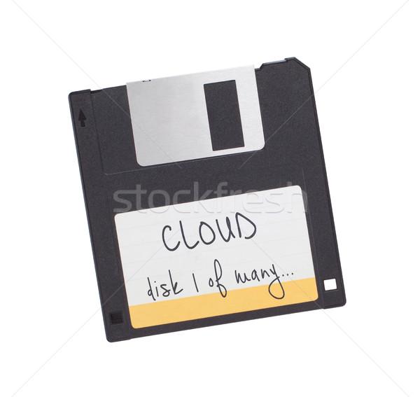 Сток-фото: диск · прошлое · изолированный · белый · облаке · технологий
