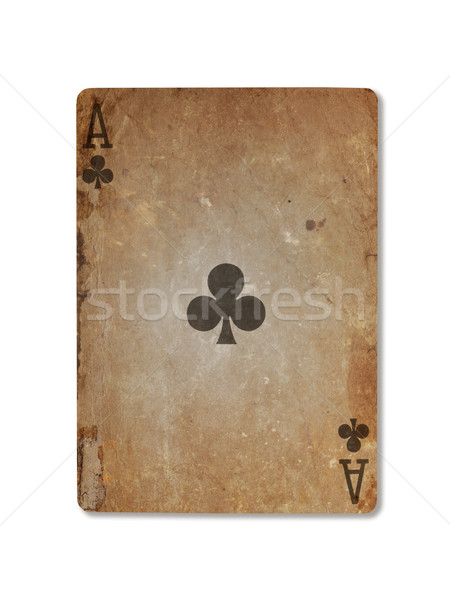 Stock photo: Very old playing card, ace of clubs