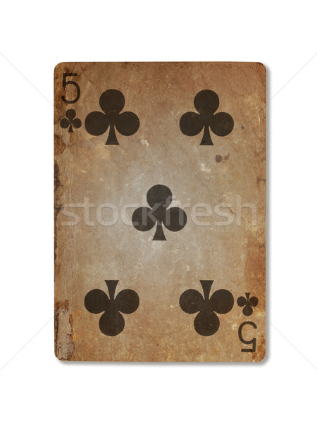 Very old playing card, five of clubs Stock photo © michaklootwijk