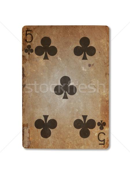 Oude spelen kaart vijf geïsoleerd witte Stockfoto © michaklootwijk