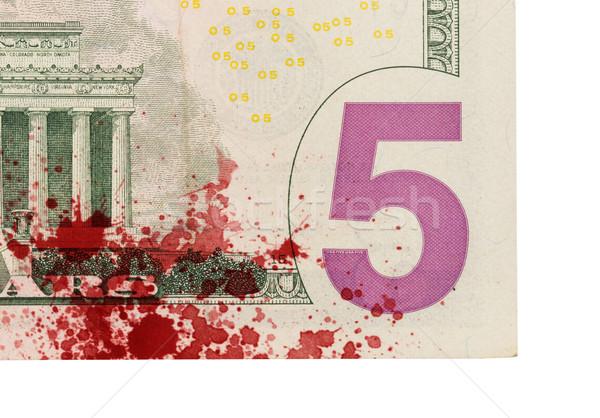 US five Dollar bill, close up, blood Stock photo © michaklootwijk
