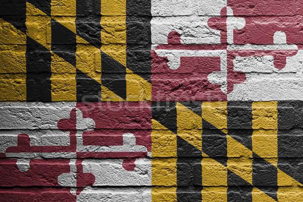 кирпичная стена Живопись флаг Мэриленд изолированный краской Сток-фото © michaklootwijk
