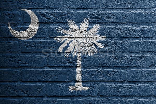 Muro di mattoni pittura bandiera Carolina del Sud isolato home Foto d'archivio © michaklootwijk