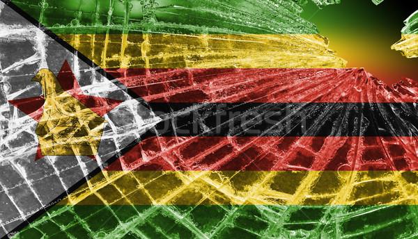 Rotto ghiaccio vetro bandiera pattern Zimbabwe Foto d'archivio © michaklootwijk