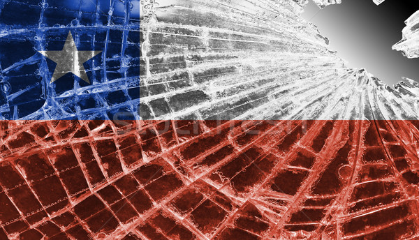 Cacos de vidro gelo bandeira Chile isolado vidro Foto stock © michaklootwijk