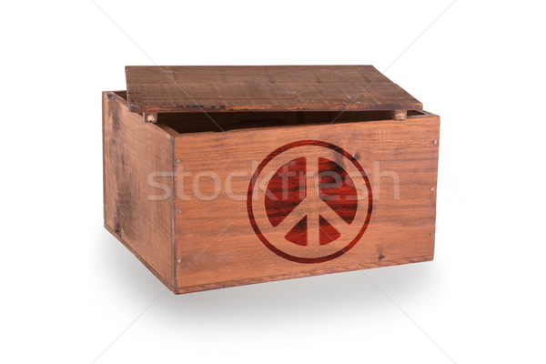 Stock fotó: Fából · készült · láda · izolált · fehér · béke · szimbólum