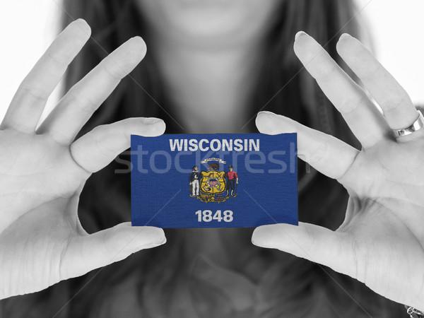 Nő mutat névjegy feketefehér Wisconsin űr Stock fotó © michaklootwijk