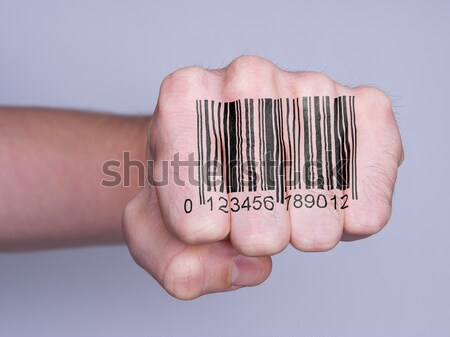 Open hand with barcode Stock photo © michaklootwijk