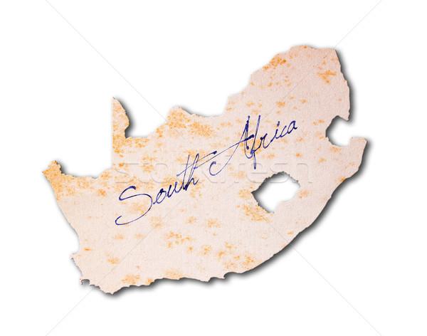 Afrique du Sud vieux papier écriture bleu encre papier Photo stock © michaklootwijk