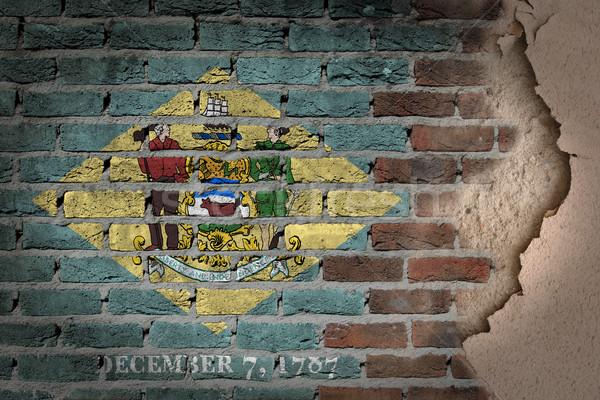Escuro parede de tijolos gesso Delaware textura bandeira Foto stock © michaklootwijk